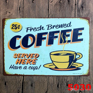 Novel 20 * 30 cm Sinal Da Lata Retro Fresco Brewed Coffee Tin Poster Jamaica Blue Mountain Servido Aqui Pinturas De Ferro Maré 3 99lje cc
