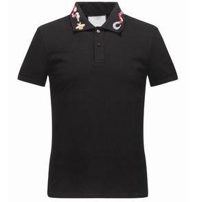 Primavera-Verão Itália Tee T-shirt do desenhista camiseta polo High Street Bordados Garter Snakes Little Bee Impressão Vestuário Mens Polo