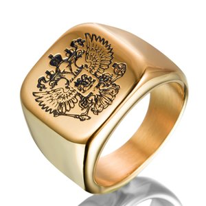 In acciaio inox 3D incisione Russia National Emblem Double Heads Eagle Square Charm Ring Hip Hop Moda Punk Uomo Donna gioielli