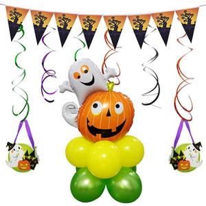 Halloween Luftballons Aluminiumfolie Ballon Set Spalte Runde Kürbis Ballon Szene Party Dekoration Happy Halloween Ballons
