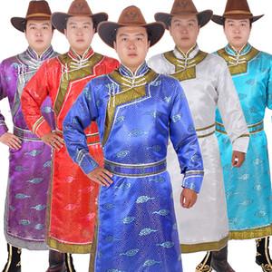 Ethnique vêtements de mariage robe de soirée pour les hommes long mongolia vêtements chinois style scène nationale festival porter costume de fantaisie de carnaval masculin