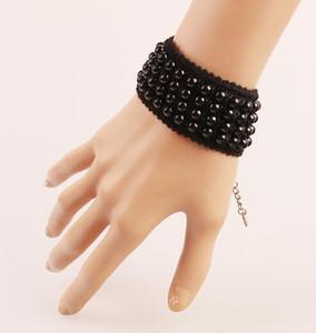 trasporto libero lavoro manuale stringa vintage signore nero perla braccialetto semplice e alla moda braccialetto estetico classico delicato ed ele