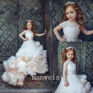 Ball Gown Flower Girls Dresse Jewel 3D-Floral Appliques Tulle Tiered Gonne Party abiti da comunione