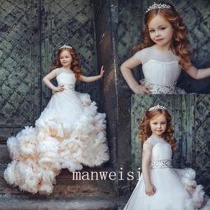 Бальное платье Flower Girls Dresse Jewel 3D-цветочные аппликации Тюль Многоуровневые юбки Причастие Платья
