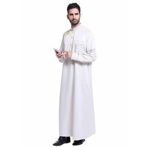 Yeni Moda Erkekler Müslüman Malezya Jubba Thobe Robe Nakış Abaya Arap Giyim İslam Pürüzsüz Uzun Kollu Hui Milliyet Hint Robe