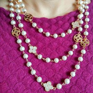 Multicamadas flor frisada colar longo colar de pérolas flor pérola por Mulheres Meninas Sweater Cadeia Moda Jóias