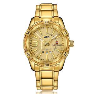 NAVIFORCE Original Gute Qualität Herren Sport Wasserdicht Edelstahlband LED Woche Datum Armbanduhr 9117