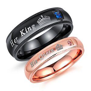Ihr König Seine Königin Paar Ringe Edelstahl Diamant Ringe Großhandel Rose Gold Schwarz Glänzenden Ring Für Männer Frauen