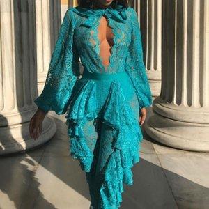 Nuevo 2018 Moda Mujeres Clubwear Bodysuits Mamelucos Azul Blanco O-cuello Perspectiva Mujeres bodycon Vendaje Monos Verano Playsuits