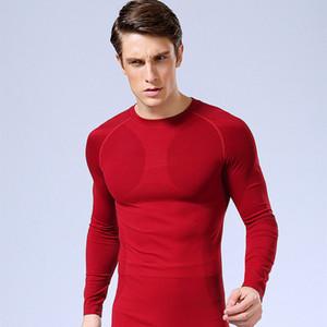Uomo Fitness maniche lunghe T-shirt Sulla biancheria intima degli uomini di Bodybuilding pelle tesa Camicie compressione termica allenamento Top