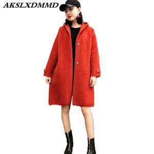 2018 New spring autumn Women knit Faux Fur Coat Moda solido Mid-Long con cappuccio Cappotto della tuta sportiva Caldo giacca invernale CW033