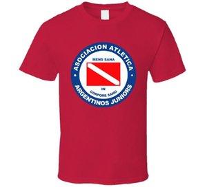 Argentinos Juniors Argentina Primera Divisão Soccerer Team Footballer Club Camiseta Casual T-shirt Masculino Padrão de Manga Curta