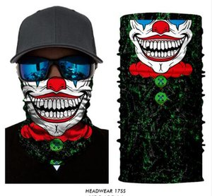 3D sans soudure crâne Joker Clown Tube Cou Guêtre Warmer Foulard Masque Visage Halloween Bandeau Chapeaux Bandana Sun UV Protection Masque