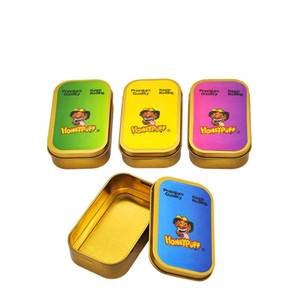 HoneyPuff Premium Gold Metal Tobacco Box Dry Herbs Stash Jar Container Storage Smoking Tobacco Herb Cigarette Case Pocket Siz 78MM Paper