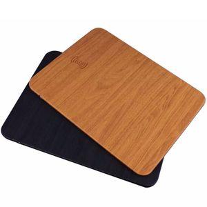 2018 Quick Qi Cargador inalámbrico Mouse Pad Carcasa multifuncional Mouse Mouse de madera para iPhone 8 X Samsung S8 S7 con paquete al por menor