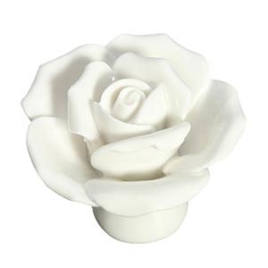 SıCAK SATıŞ 1 x Düğme Kapı Kolu Çekmece Dolap Dolap Seramik Çiçek Gül Dresser Topuzu beyaz