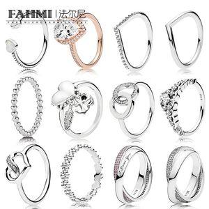 100% стерлингового серебра способа светя Циркон кольцо (разнообразие стилей на выбор) Couple Ring Gift Jewelry Factory Outlets