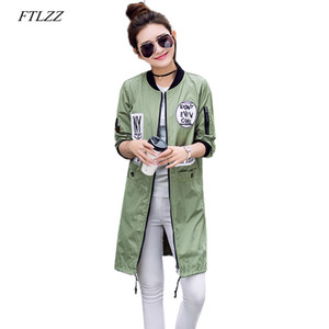 FTLZZ Autumn Women Long Trench Army Green Windbreaker Coats Print Letter Emboridery Street Baseball Casual Basic Outwear