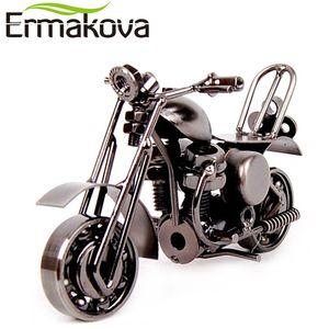 """Venta al por mayor-ERMAKOVA 14cm (5.5 """") Motocicleta Vintage Modelo Retro Motor Figurilla Hierro Motocicleta Prop Hecho a mano Niño Regalo Niño Juguete Decoración de oficina en casa"""