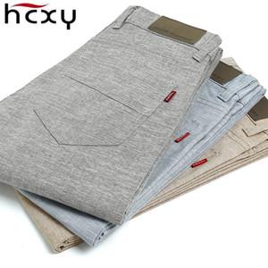 HCXY 2017 de alta calidad de Los Hombres Pantalones de Lino de los hombres ocasionales de verano pantalones delgados Pantalones de los hombres pantalones de tamaño 38