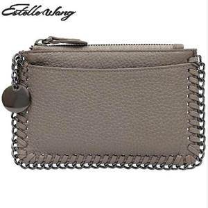 Estelle Wang Rindsleder Leder Null Geldbörse Einfache Kette Mini Frauen Brieftaschen Persönlichkeit Kleine Zipper Schöne Münze Kartenhalter Brieftasche