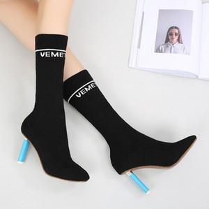 Herbst und Winter neue Strickmode Damen Stiefel Mode Stiletto Socken Stiefel runden Kopf war dünn in den Stiefeln Frauen