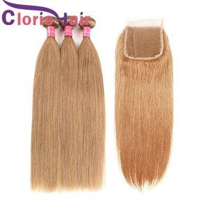 # 27 Honey Blonde Наращивание волос Перуанские девственные прямые человеческие волосы 3 пучка с закрытием Клубничный блондин Верхние кружевные крышки и плетения
