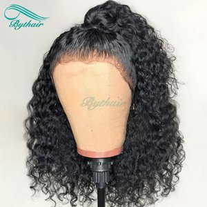 Bythair Human Hair Lace Front Wig Short Curly Full Lace Wig Pre-plucked Hairline Deep Curl Peruvian Virgin Hair 150% Density Bleached Knots