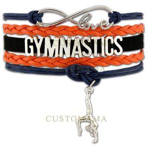 Custom-Infinity Love Gymnastics Charm Multilayer Wrap Bracelet Gift para Gymnast Wax Pulsera de cuero Custom Any Themes