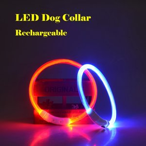 Hot Selling Rechargeable Dog Collars TPU Optical Fiber Cuttable PET Dog Collar 7 Colors Wholesale Free shipping
