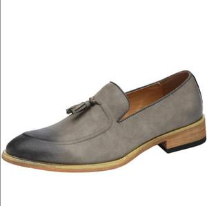 Mocasines para hombre Zapatos retro de cuero 2018 Zapatos ocasionales de conducción plana Hombres Alpargatas marrón de alta calidad Estilo británico size38-44 a48