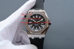 los hombres de envío libre de calidad superior de lujo mecánico automático de 42 mm de acero inoxidable reloj de los relojes de goma correa superior Relojes de pulsera Marque Negro