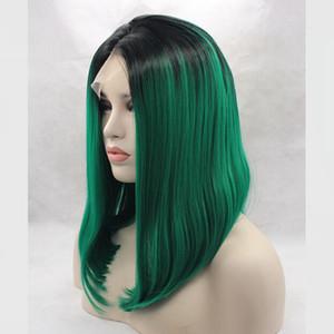 Parrucca anteriore in pizzo sintetico Bob Straight Haircut Ombre Hair Parrucca cosplay frontale in pizzo da donna verde Capelli sintetici corti