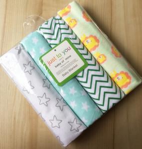 Voyage 4pcs / pack 100% coton, couverture de bébé en flanelle Supersoft, bébé recevant la couverture drap de lit, rembourrage pour bébé, drap de coton pour bébé