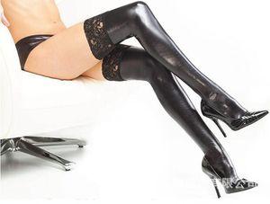 FREE SHIPPING 섹시한 스트레치 스타킹 블랙 레이스 퀸 SM 섹시 토이 양말 가죽 특허 스타킹 양말 가죽 양말