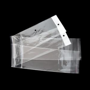 10.5x62cm klar OPP Kunststoff Perücke Paket Tasche selbstklebende lange transparente Poly Verpackung Taschen Haarteil Haarverlängerung Verpackungsbeutel Tasche