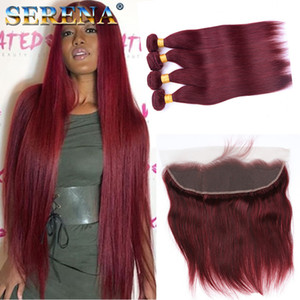 4 Bundle Deals Burgundy 브라질 버진 헤어 스트레이트 99j 레드 헤어 웨이브 번들 Burgundy Human Hair Burgundy 13x4 Frontal