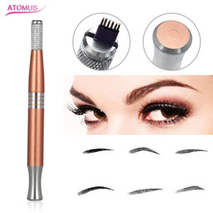 Gyro Single Head Stainless Steel Manual Pen Permanent Makeup Eyebrow Pen Tattoo Manual Microblading Needles Tattooing Supplies Gold Green