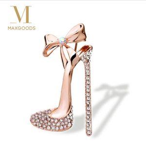 1 pc Sexy Cristal Sapatos de Salto Alto Broche de Ouro Strass Broche de Pino de Jóias para as mulheres senhoras