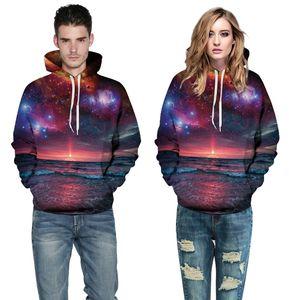 Wholesale free shipping Sweatshirts Men Galaxy Space 3d Sunrise Hoody Jackets Women Harajuku Hip Hop Large Size 3XL Sportswear