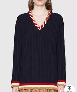 Brand Desiger Donna Twisted Wool Maglioni 2018 Autunno Inverno Fashion V Neck Contrast Colour Knitted Pullover Pullover Maglieria