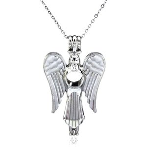 Silver Beauty Angel Wing Hollow God Difusor Locket Mujeres Aromatherapy Perlas Pearl Oyster Jaula Collar Colgante-Boutique regalo