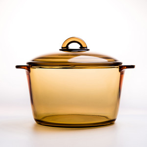 1L amber Düz yanan pot Yüksek sıcaklık ısı direnci Temperli cam Yavaş cooke 16.8x7 cm