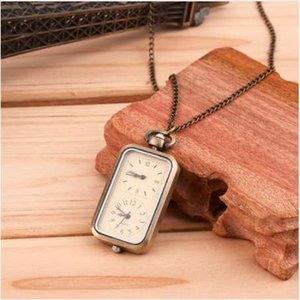 Antique Chain Bronze Quartz Pocket Watch Dual Double Time Zone Movement Gift Pendant Chain Necklace relogio masculino