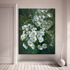 White Daisy Flower Painting By Numbers Kit Acrylic Diy Paint By Numbers Wall Art Picture For Home Decors