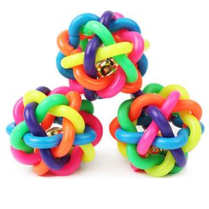 애완 동물 강아지 장난감 다채로운 원형 공 레인보우 장난감 강아지와 함께 작은 벨 볼 고무 작은 강아지에 대한 재생 씹는 5.5cm
