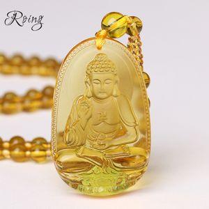 Roing citrino pingente de colar de pedra natural buda guardião cadeia talão de presente para as mulheres homens de cristal de jóias de gravidade f003