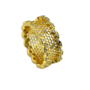 2018 Spring Pandora Ring 925 Sterling Silver Gold-Plated Pink Honeycomb Lace Rings Original Fashion DIY Charms Jewelry For women Making