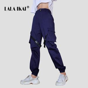 LALA IKAI Women High Street Pant Blue Ins Multi Pocket Cargo Pants Girls Streetwear Hip Hop Dancer Trousers Ladies SWB1865-47