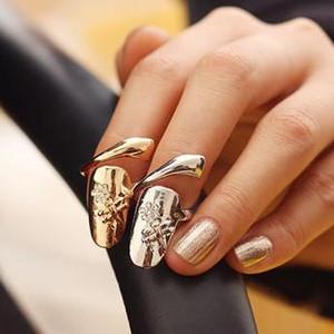 10pcs / lot Exquis Mignon Rétro Reine Libellule Design Strass Prune Serpent Or / Argent mariage nuptiale Anneau Doigt Anneaux À Ongles